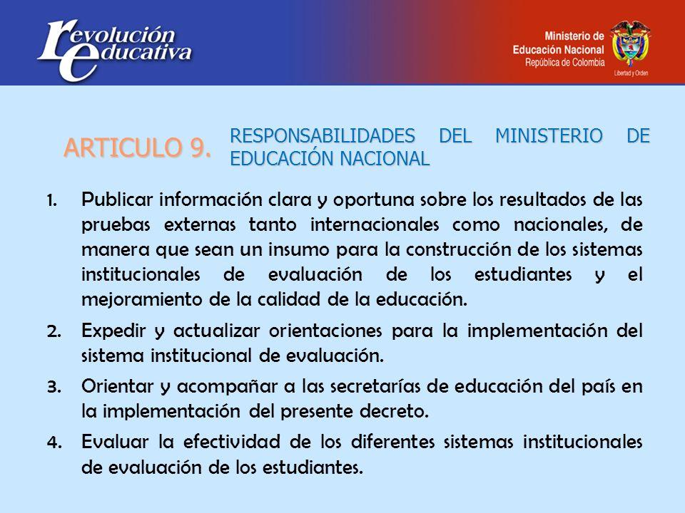 RESPONSABILIDADES DEL MINISTERIO DE EDUCACIÓN NACIONAL