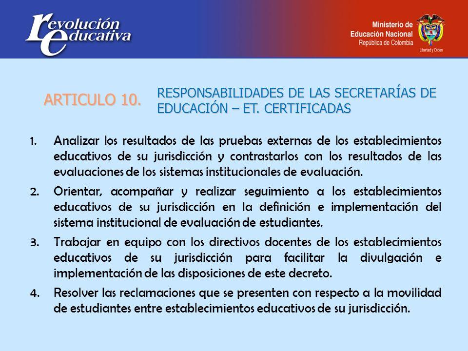 RESPONSABILIDADES DE LAS SECRETARÍAS DE EDUCACIÓN – ET. CERTIFICADAS