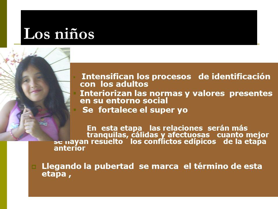 Los niños Intensifican los procesos de identificación con los adultos. Interiorizan las normas y valores presentes en su entorno social.
