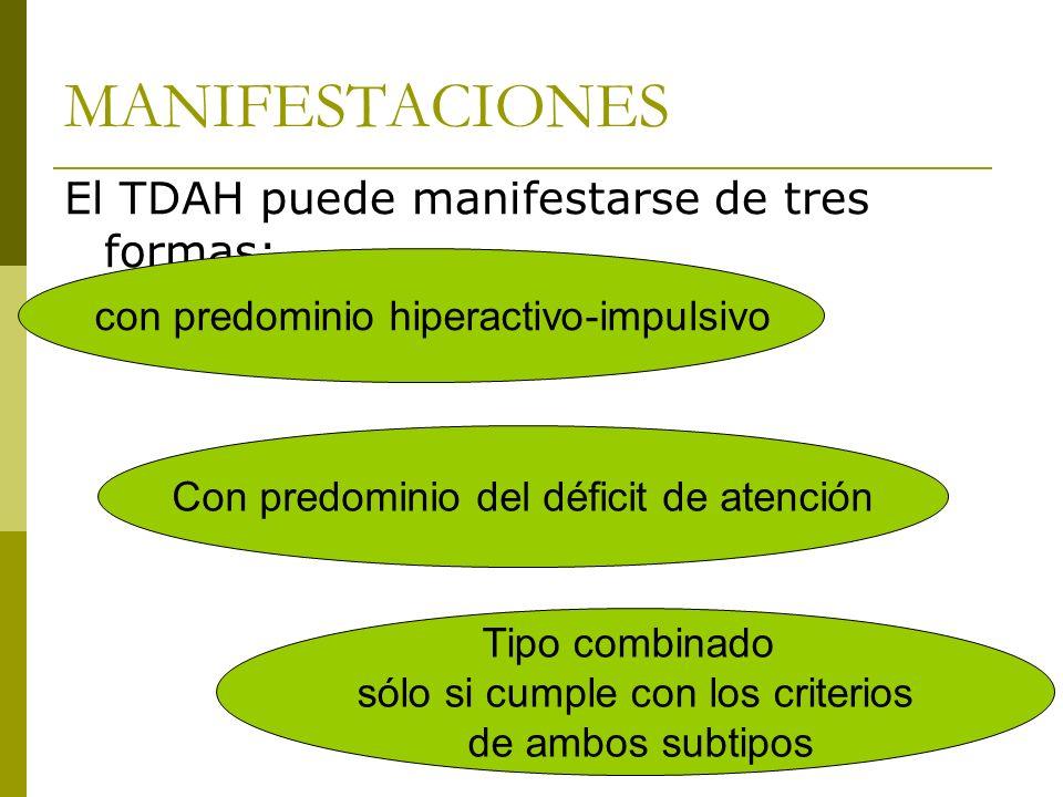 MANIFESTACIONES El TDAH puede manifestarse de tres formas: