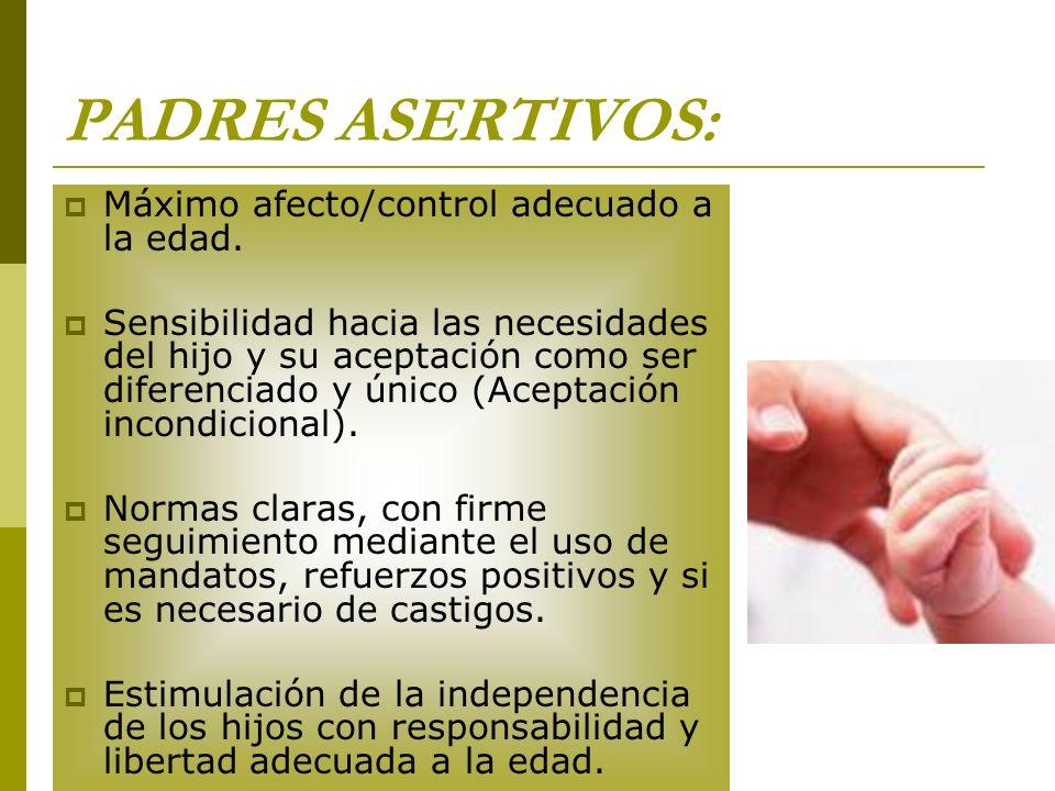 PADRES ASERTIVOS: Máximo afecto/control adecuado a la edad.