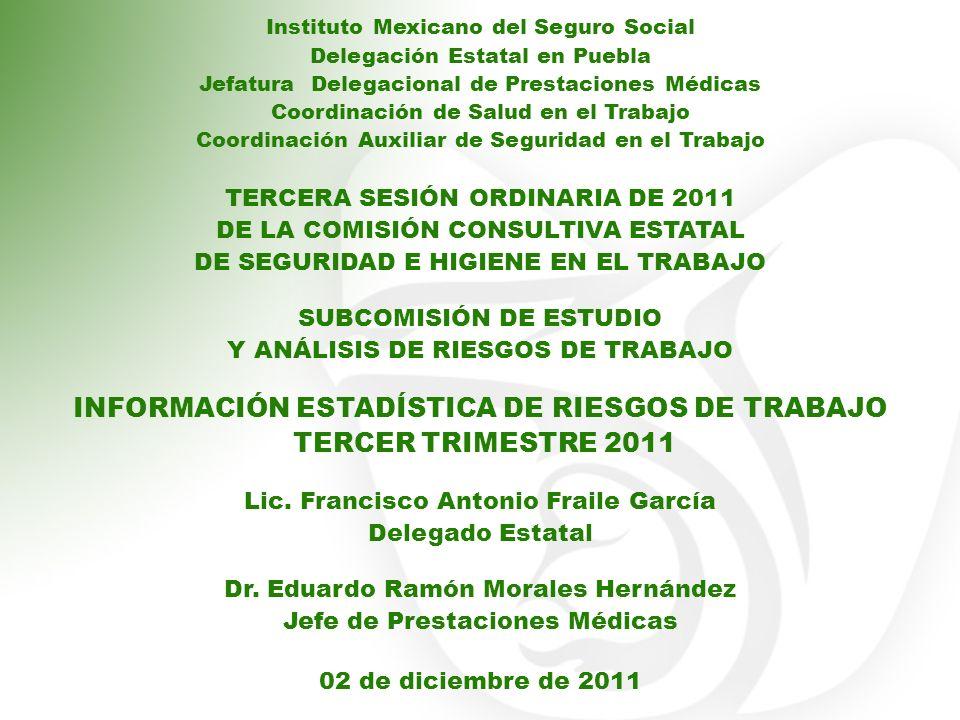 INFORMACIÓN ESTADÍSTICA DE RIESGOS DE TRABAJO TERCER TRIMESTRE 2011