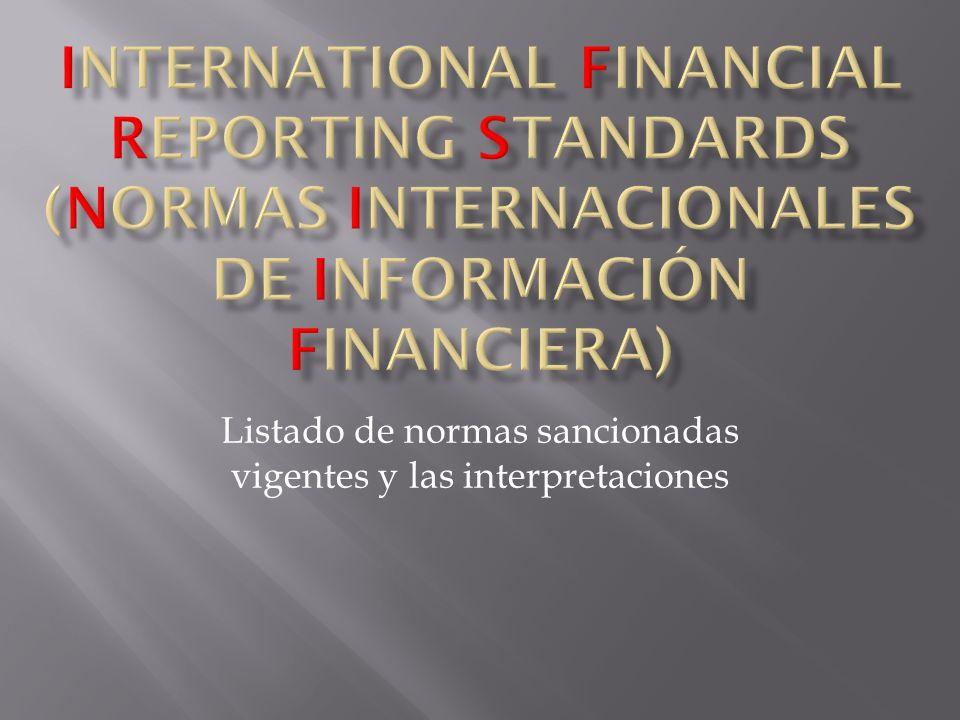 Listado de normas sancionadas vigentes y las interpretaciones