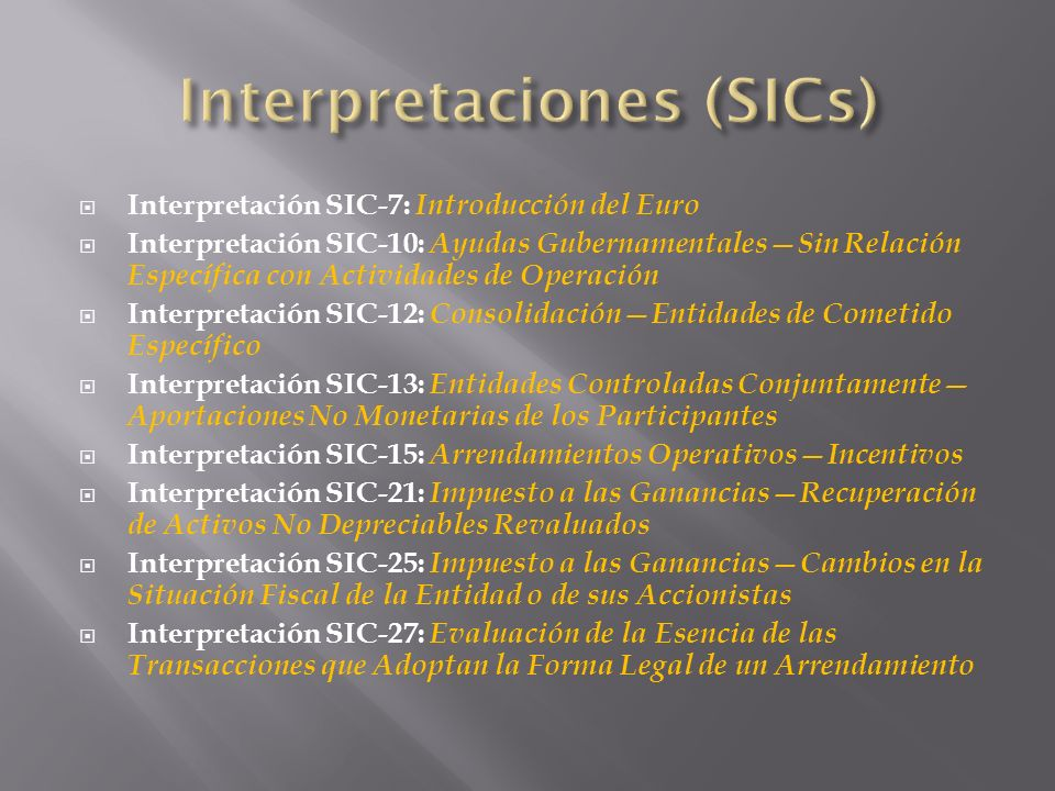 Interpretaciones (SICs)