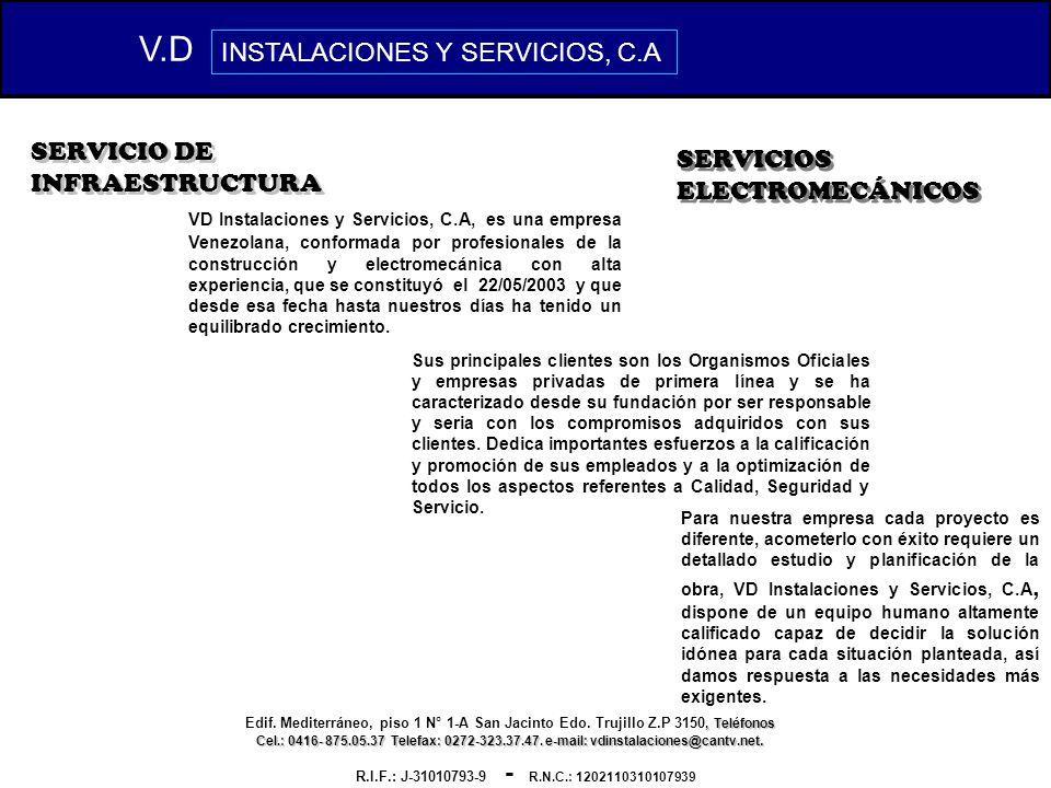 V.D INSTALACIONES Y SERVICIOS, C.A SERVICIO DE INFRAESTRUCTURA
