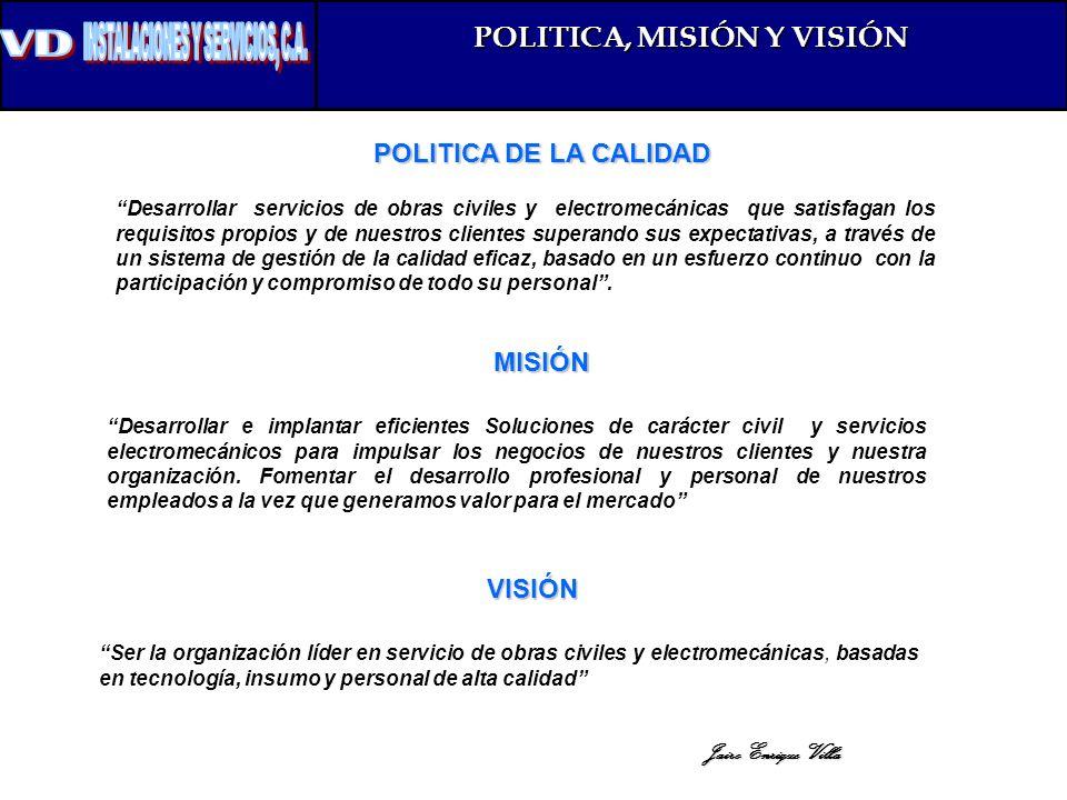 POLITICA, MISIÓN Y VISIÓN
