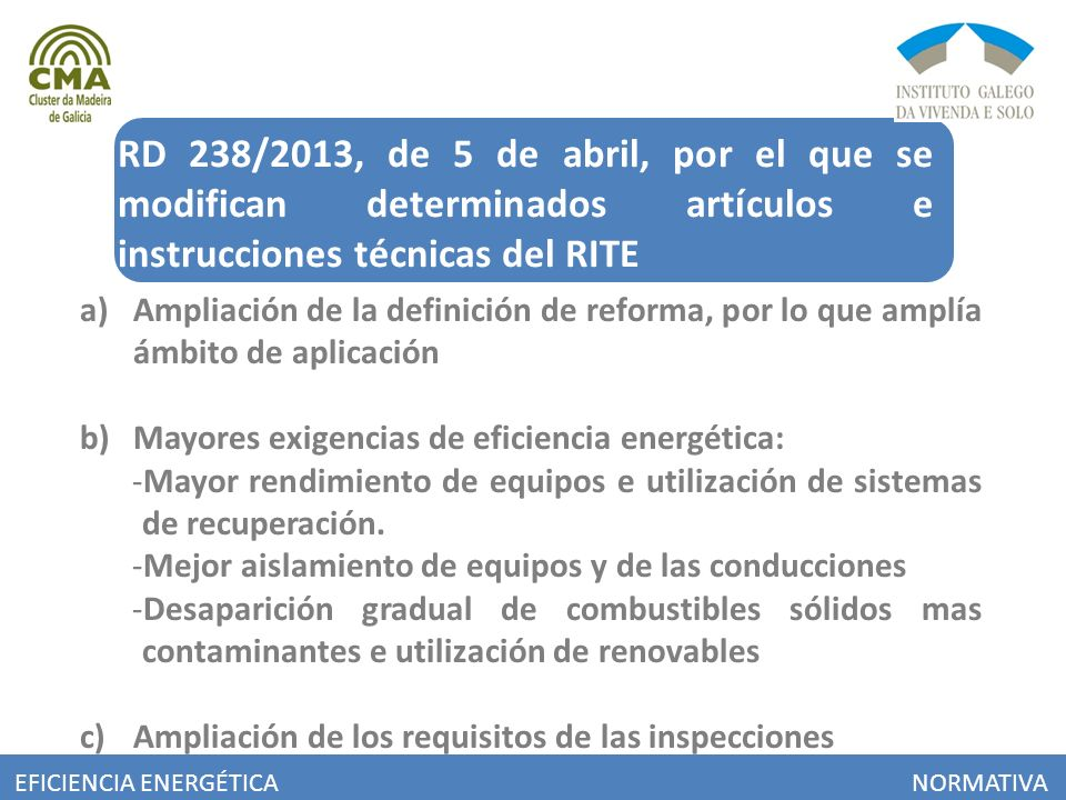 RD 238/2013, de 5 de abril, por el que se modifican determinados artículos e instrucciones técnicas del RITE