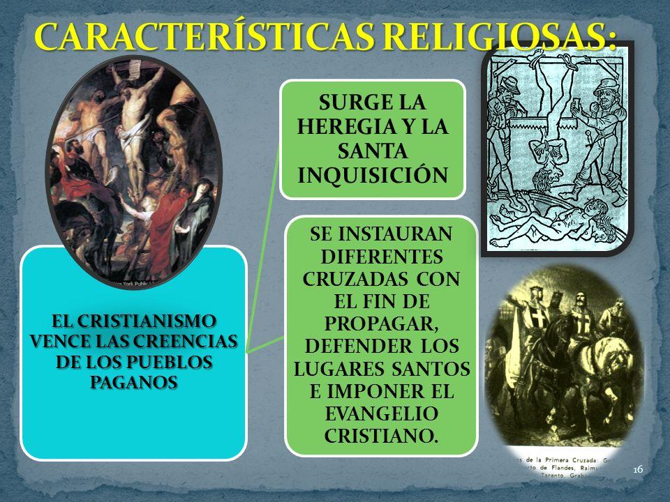 CARACTERÍSTICAS RELIGIOSAS:
