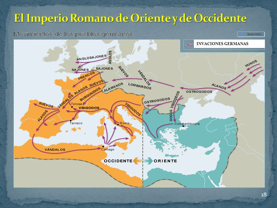 El Imperio Romano de Oriente y de Occidente