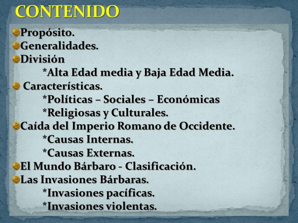 CONTENIDO Propósito. Generalidades. División