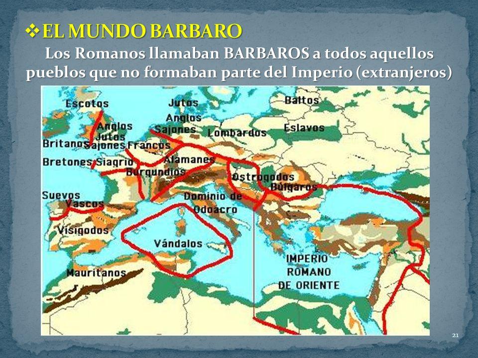 EL MUNDO BARBARO Los Romanos llamaban BARBAROS a todos aquellos pueblos que no formaban parte del Imperio (extranjeros)
