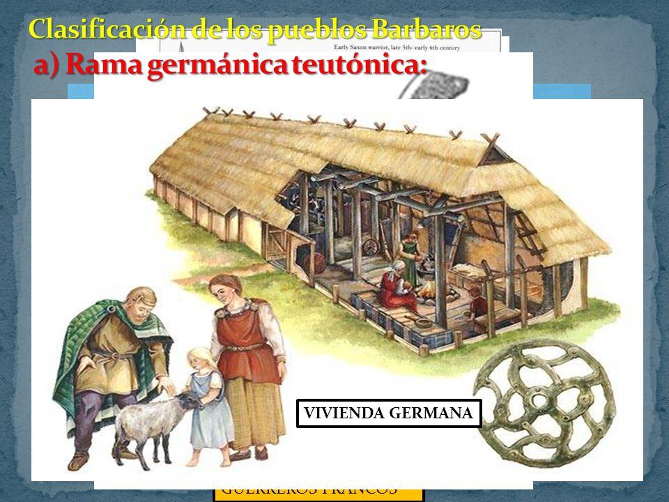 Clasificación de los pueblos Barbaros a) Rama germánica teutónica: