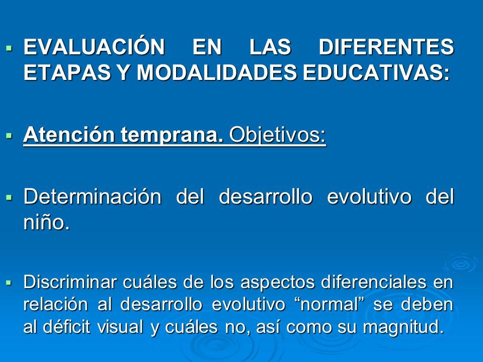 EVALUACIÓN EN LAS DIFERENTES ETAPAS Y MODALIDADES EDUCATIVAS: