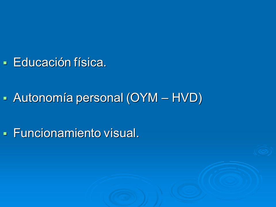 Educación física. Autonomía personal (OYM – HVD) Funcionamiento visual.