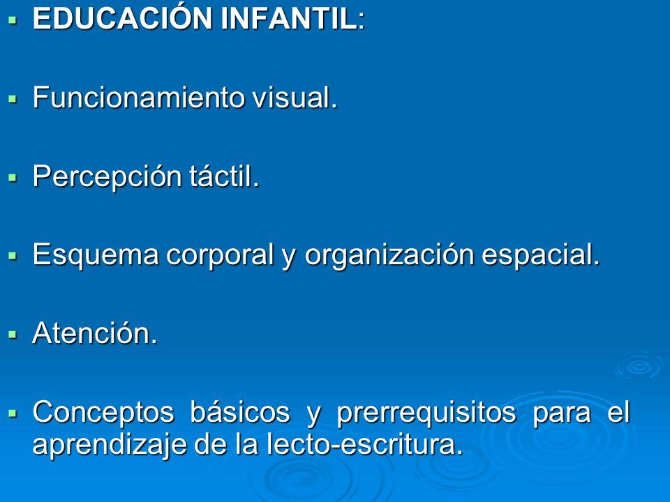 EDUCACIÓN INFANTIL: Funcionamiento visual. Percepción táctil. Esquema corporal y organización espacial.