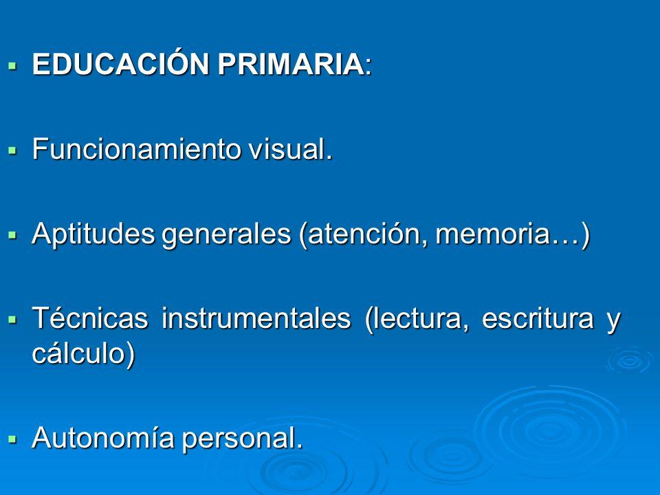 EDUCACIÓN PRIMARIA: Funcionamiento visual. Aptitudes generales (atención, memoria…) Técnicas instrumentales (lectura, escritura y cálculo)