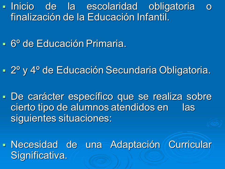 Inicio de la escolaridad obligatoria o finalización de la Educación Infantil.