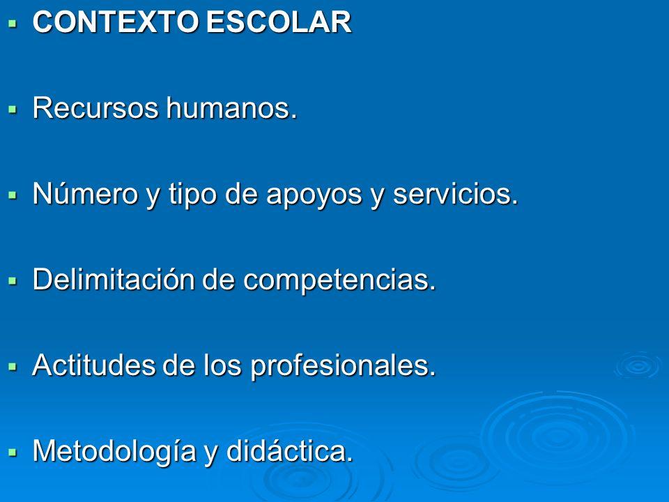CONTEXTO ESCOLAR Recursos humanos. Número y tipo de apoyos y servicios. Delimitación de competencias.