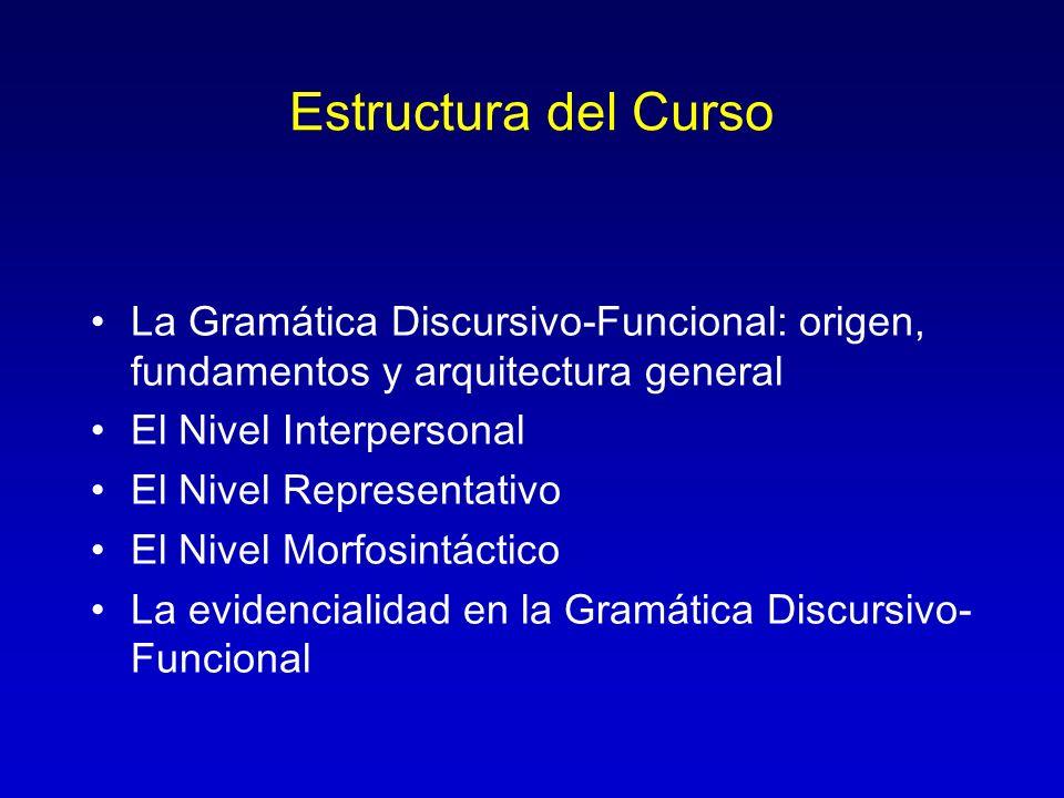 Estructura del Curso La Gramática Discursivo-Funcional: origen, fundamentos y arquitectura general.