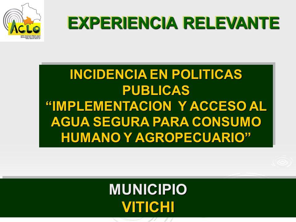 EXPERIENCIA RELEVANTE INCIDENCIA EN POLITICAS PUBLICAS