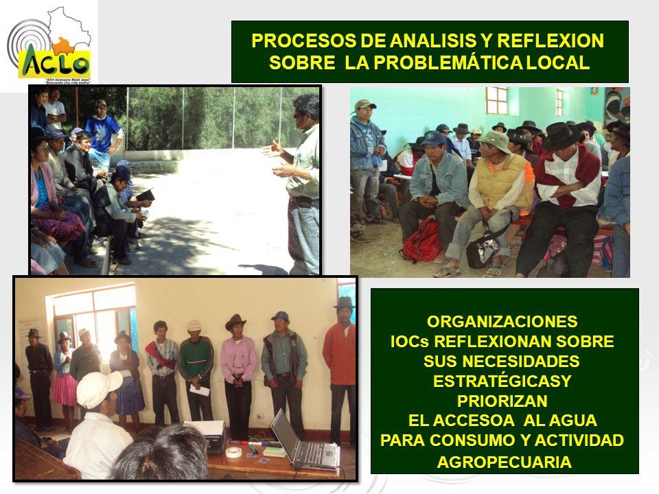 PROCESOS DE ANALISIS Y REFLEXION SOBRE LA PROBLEMÁTICA LOCAL