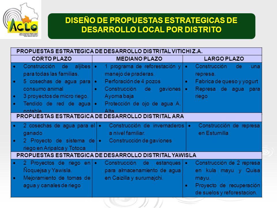 DISEÑO DE PROPUESTAS ESTRATEGICAS DE DESARROLLO LOCAL POR DISTRITO