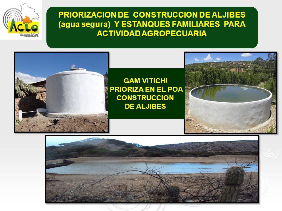 PRIORIZACION DE CONSTRUCCION DE ALJIBES (agua segura) Y ESTANQUES FAMILIARES PARA ACTIVIDAD AGROPECUARIA