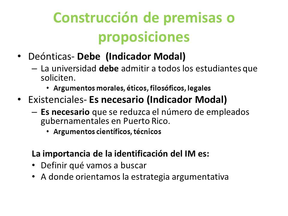 Construcción de premisas o proposiciones