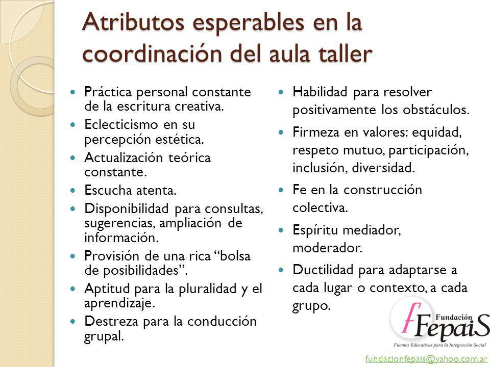 Atributos esperables en la coordinación del aula taller