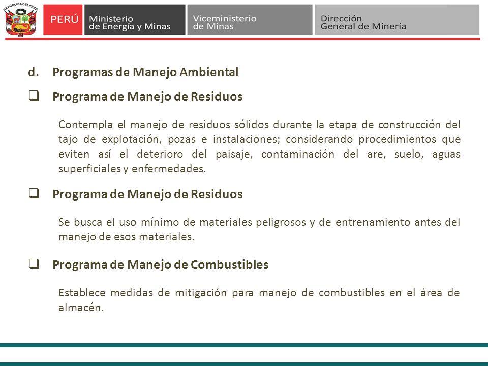 Programas de Manejo Ambiental