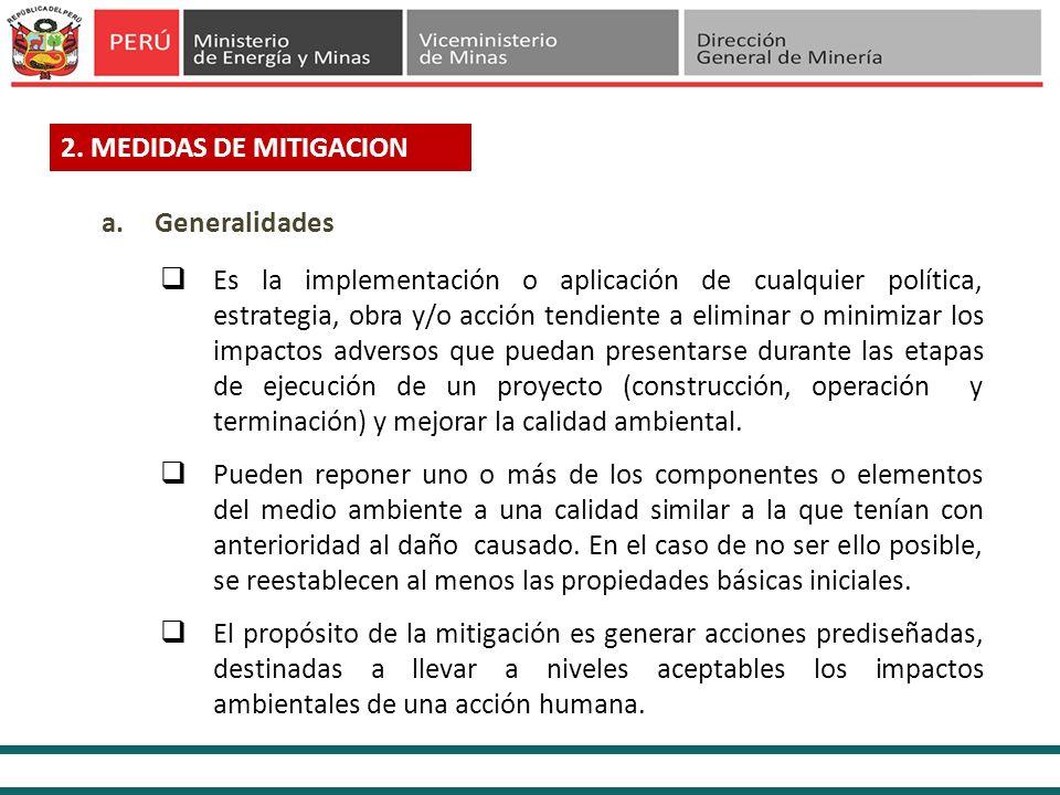 2. MEDIDAS DE MITIGACION Generalidades.