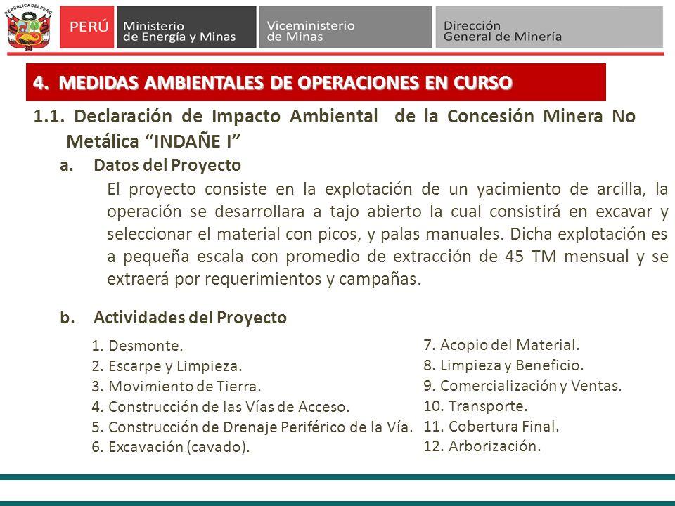 4. MEDIDAS AMBIENTALES DE OPERACIONES EN CURSO