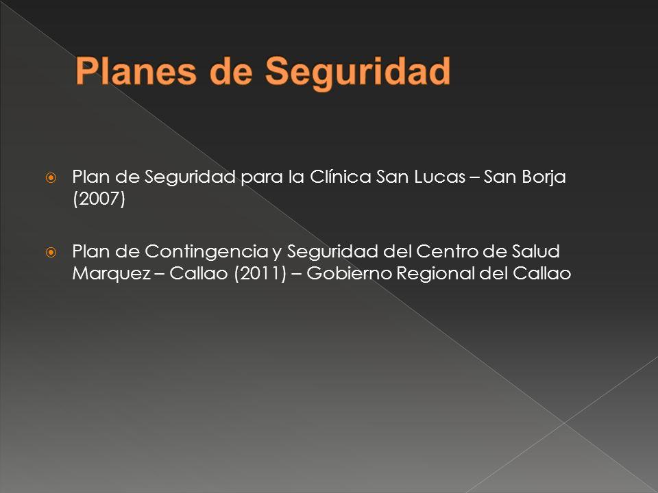 Planes de Seguridad Plan de Seguridad para la Clínica San Lucas – San Borja (2007)