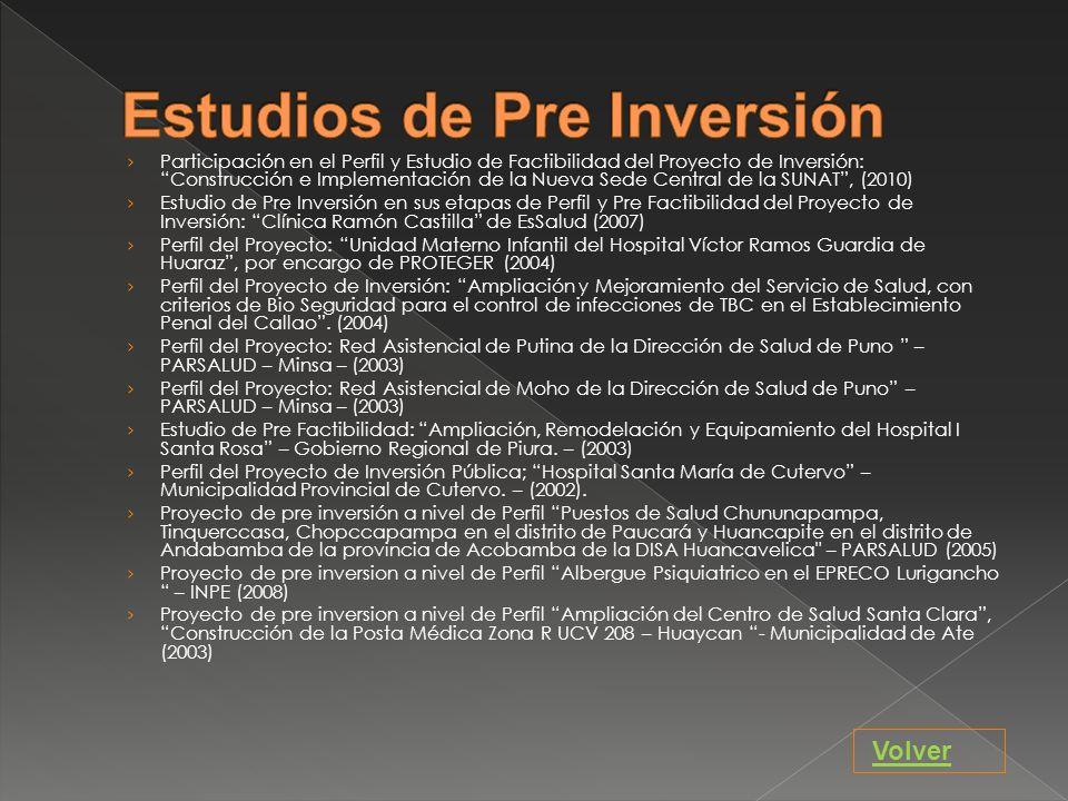 Estudios de Pre Inversión