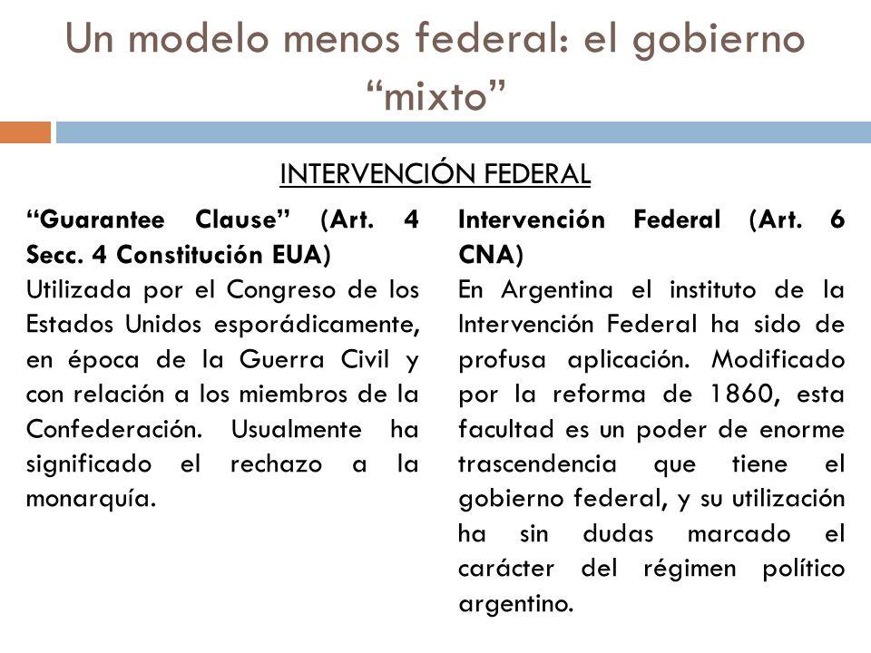 Un modelo menos federal: el gobierno mixto