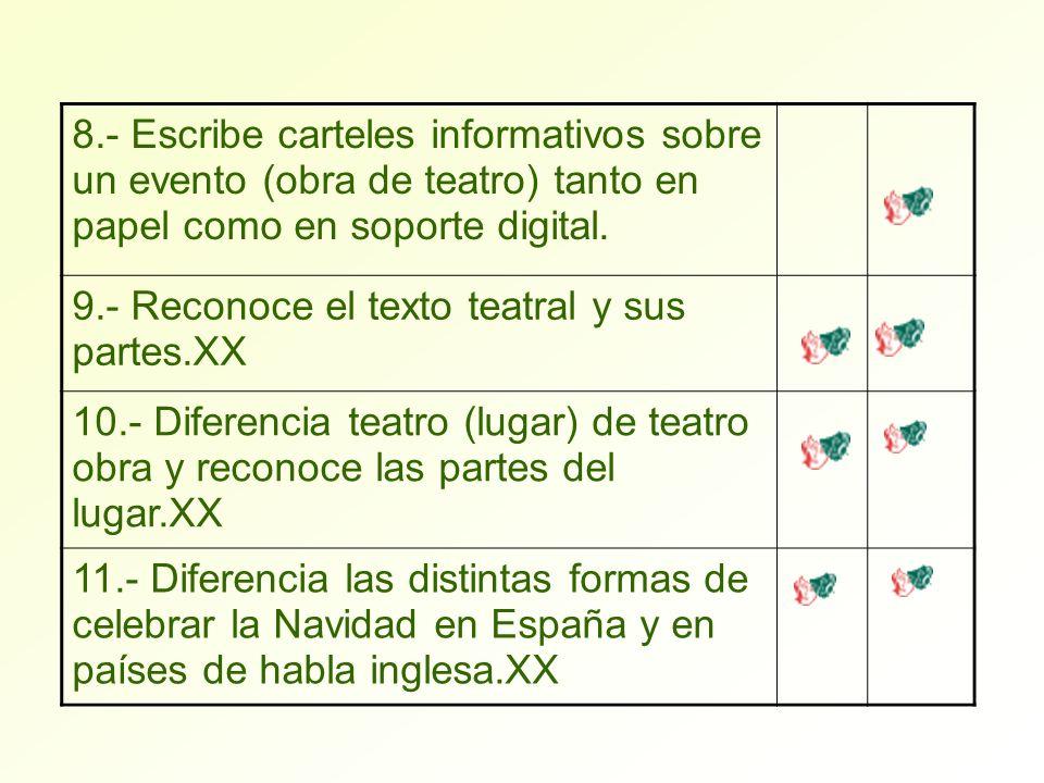 8.- Escribe carteles informativos sobre un evento (obra de teatro) tanto en papel como en soporte digital.