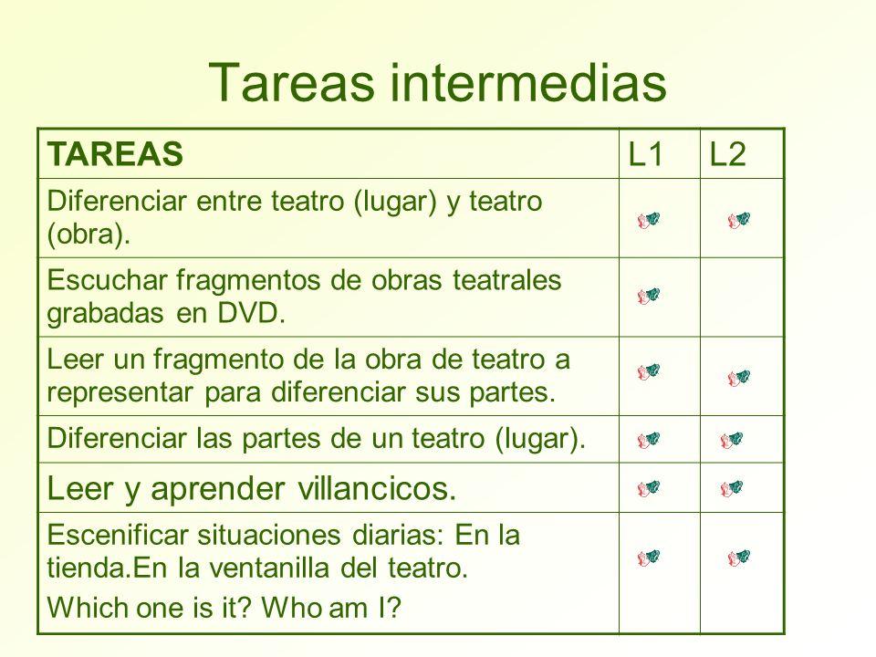 Tareas intermedias TAREAS L1 L2 Leer y aprender villancicos.