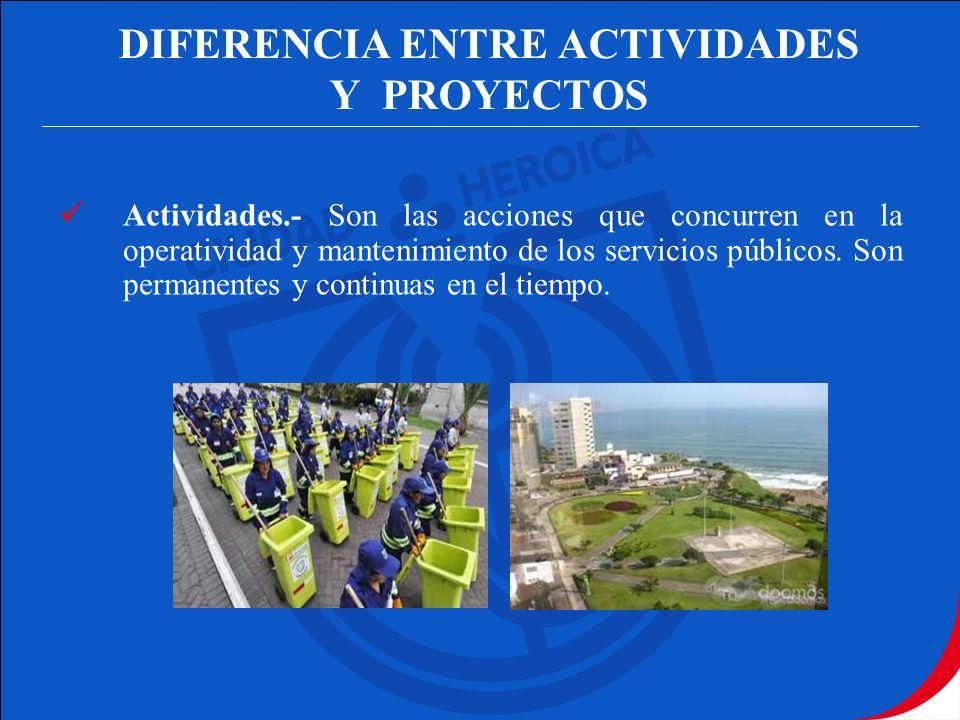 DIFERENCIA ENTRE ACTIVIDADES Y PROYECTOS