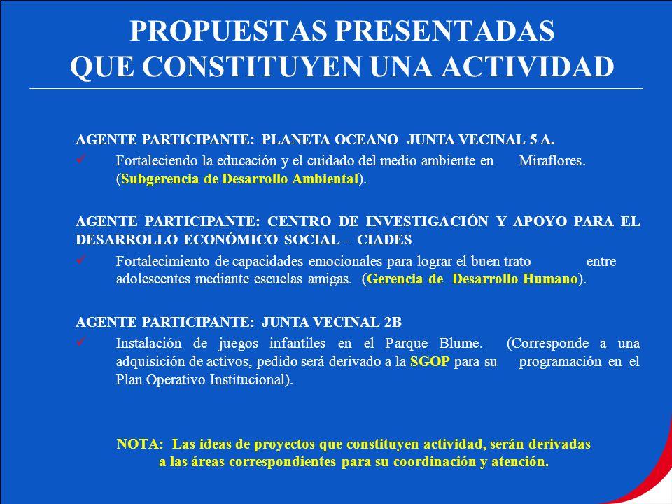 PROPUESTAS PRESENTADAS QUE CONSTITUYEN UNA ACTIVIDAD