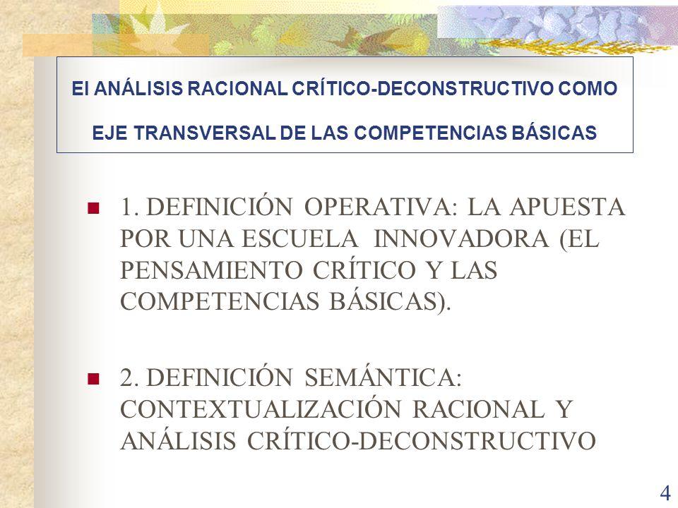 El ANÁLISIS RACIONAL CRÍTICO-DECONSTRUCTIVO COMO EJE TRANSVERSAL DE LAS COMPETENCIAS BÁSICAS