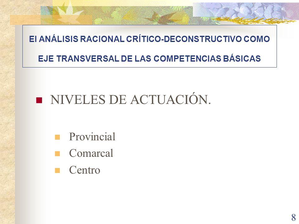 NIVELES DE ACTUACIÓN. Provincial Comarcal Centro