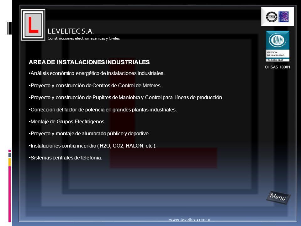 LEVELTEC S.A. Menu AREA DE INSTALACIONES INDUSTRIALES