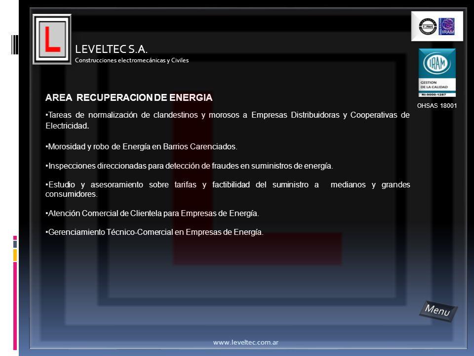 LEVELTEC S.A. Menu AREA RECUPERACION DE ENERGIA