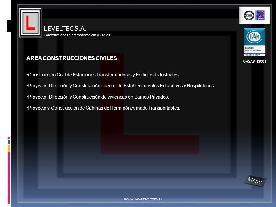 LEVELTEC S.A. Menu AREA CONSTRUCCIONES CIVILES.