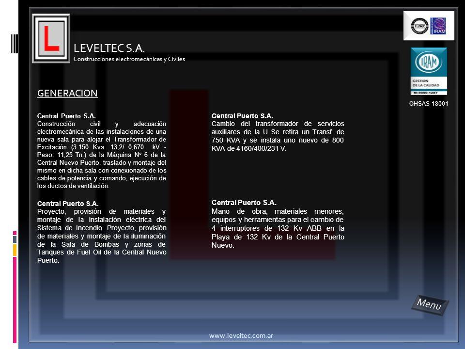 LEVELTEC S.A. Menu GENERACION Central Puerto S.A.