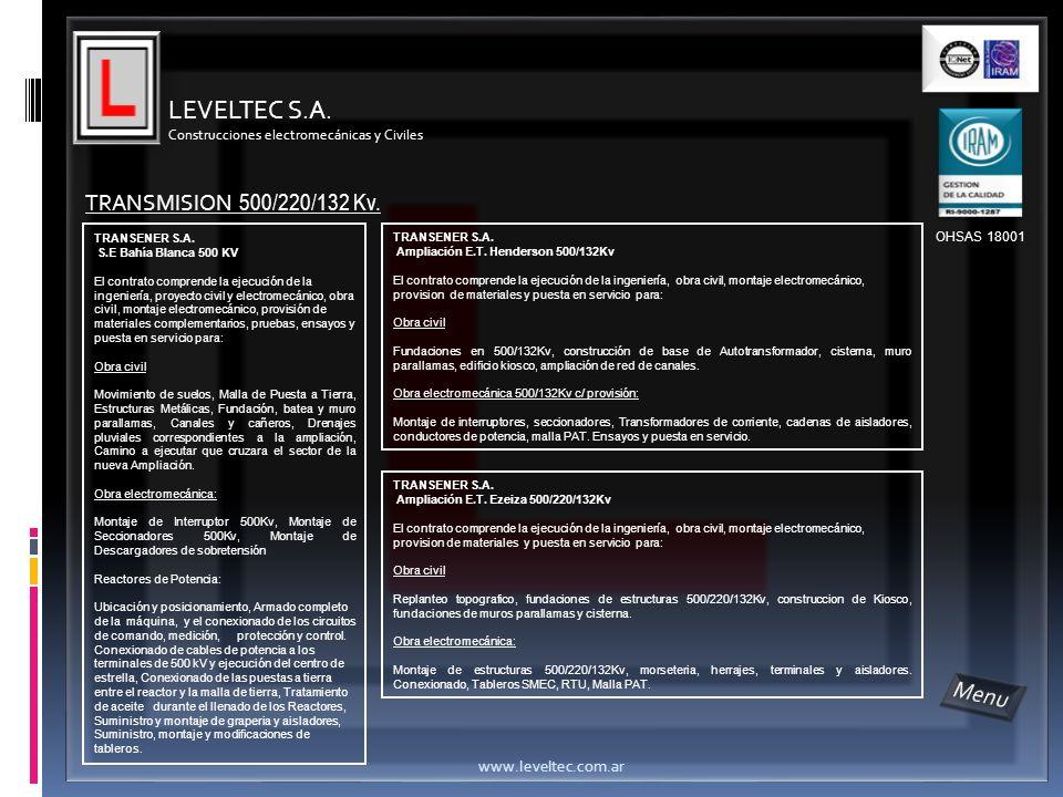 LEVELTEC S.A. Menu TRANSMISION 500/220/132 Kv. www.leveltec.com.ar