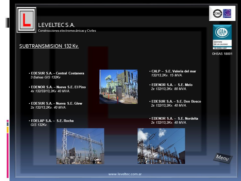 LEVELTEC S.A. Menu SUBTRANSMISION 132 Kv. www.leveltec.com.ar