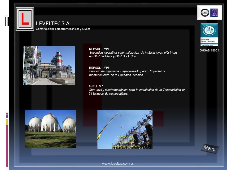 LEVELTEC S.A. Menu www.leveltec.com.ar