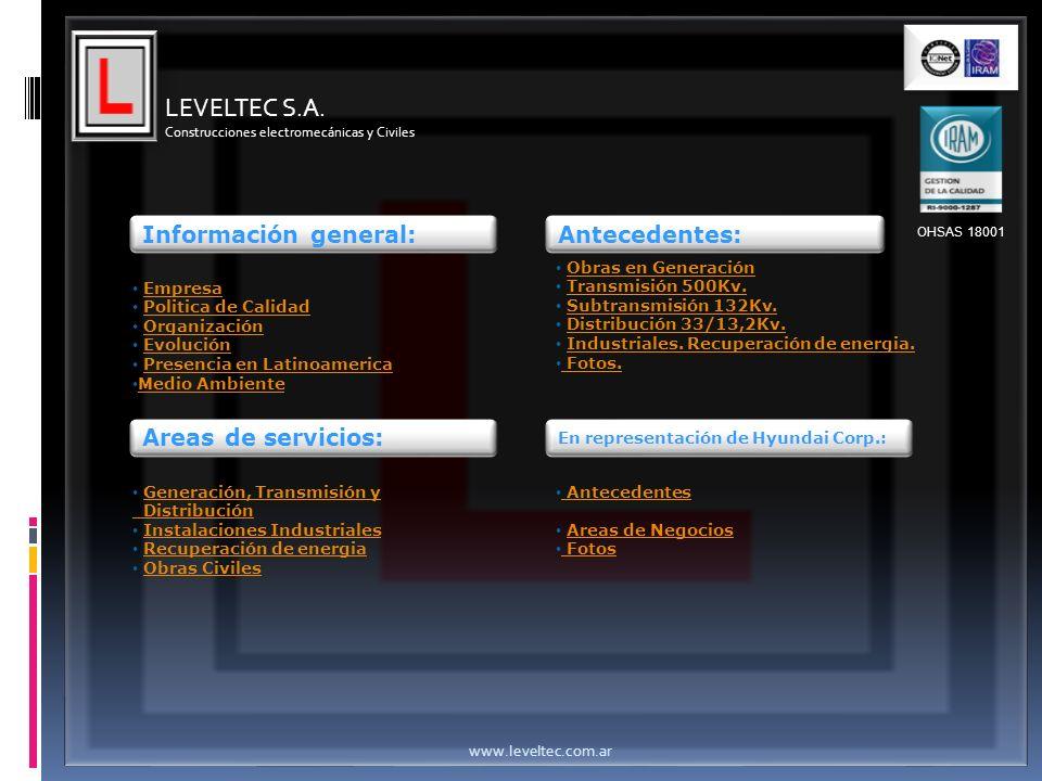 LEVELTEC S.A. Información general: Antecedentes: Areas de servicios: