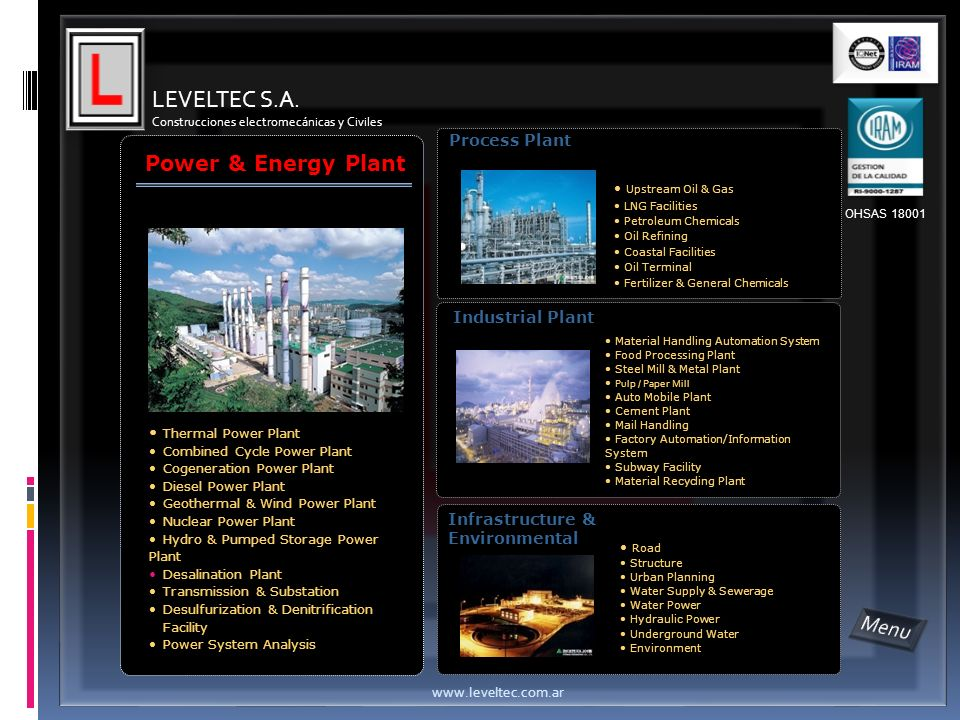 LEVELTEC S.A. Menu Power & Energy Plant Process Plant Industrial Plant